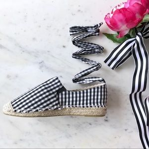 Shoes - Gingham Lace Up Espadrille Flats